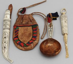 Sami knife, coffee bag, kåsa (drinking vessel) and needle case; Sweden.
