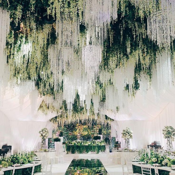 We are charmed by this enchanted forest theme wedding decoration! Major crush on the incorporation of stunning crystal chandeliers hanging wisteria and greeneries that successfully brings out a magical look to the wedding. Kudos for @shackirovajulia for transforming an indoor venue as if it was an outdoor one! Who dreams this for their wedding decoration? Leave a 'Yes' below!  Photography @ksemenikhin by thebridestory