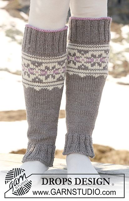 """Ravelry: 116-35 Leg warmers with multi coloured pattern in """"Alaska"""" pattern by DROPS design"""