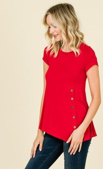 f0360c2e9adf63 Women s Red Tunic Top Side Buttons  S M L XL