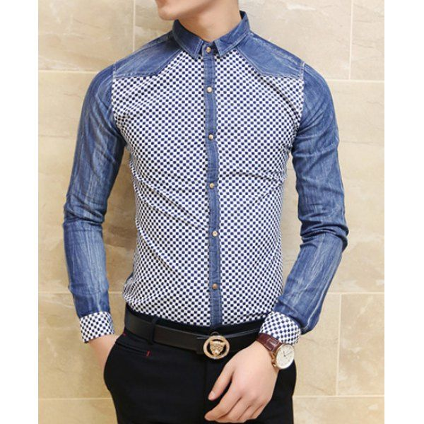 Stylish Shirt Collar Slimming Color Block Tiny Checked Splicing Long Sleeve Men's Denim Shirt, BLUE, L in Shirts | DressLily.com