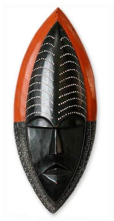 Ghanaian wood mask - Be Patient - NOVICA