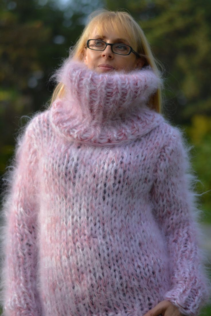 beautiful pink mohair sweater