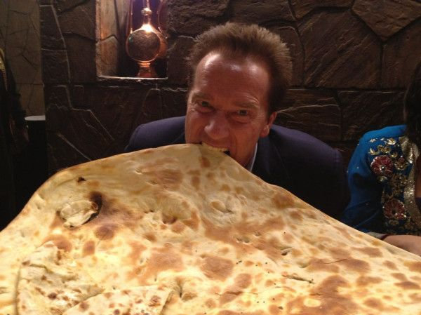 Delhi: While in India to talk about a green energy future, I sampled some great food, including this gigantic naan.: Food, Movie Stars, Colors Palettes, Breads, India, Arnold Schwarzenegger, Green Energy, Energy Future, Photo