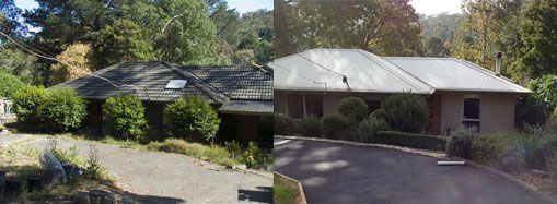 Another before/after shot of the front of the house. This shows the rendered exterior and landscaping.