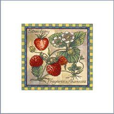Botanical Fruits strawberries designs on ceramic tiles