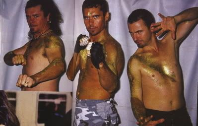 JON WITHOUT A SHIRT!?!? YES, PLEASE!!! getting their glitter on - INXS - Tim Farriss, Jon Farriss & Garry Gary Beers
