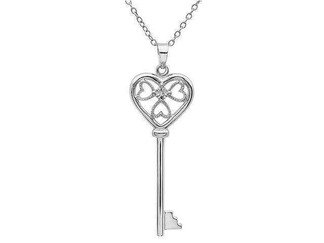 "FineDiamonds9 18"" Sterling Silver Key Pendant with 1/8ct Diamond Heart Necklace - Newegg.com"