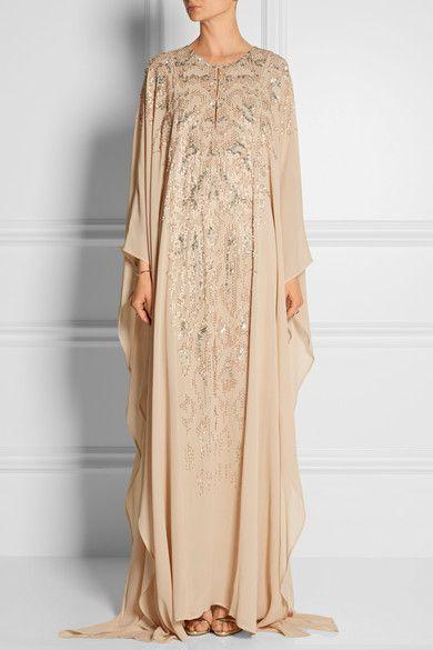 Roberto CavalliEmbellished silk-georgette gown
