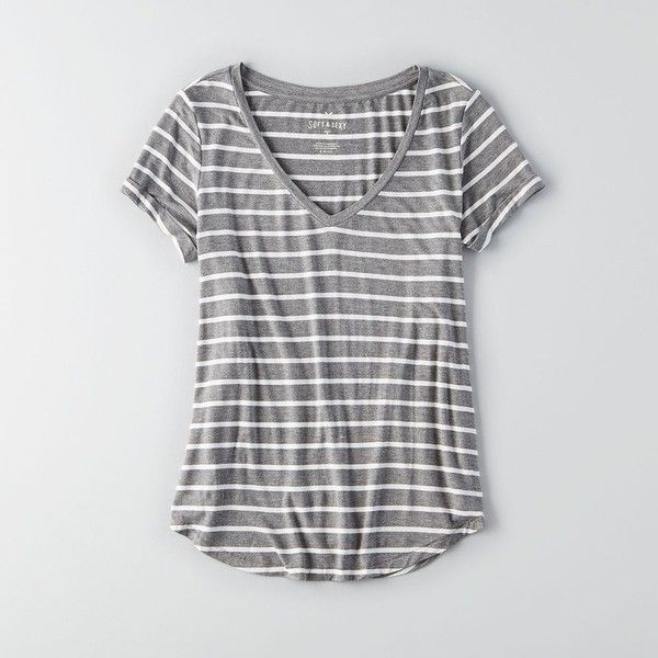 AEO Soft & Sexy Favorite T-Shirt ($20) ❤ liked on Polyvore featuring tops, t-shirts, sexy tops, sexy tee, curved hem tee, v neck t shirts ve sexy v neck tops