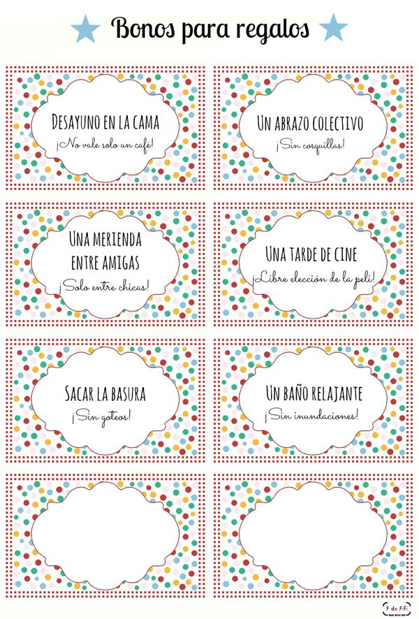 Imprimible, bonos canjeables regalo para el día de la madre Printable for mother's day