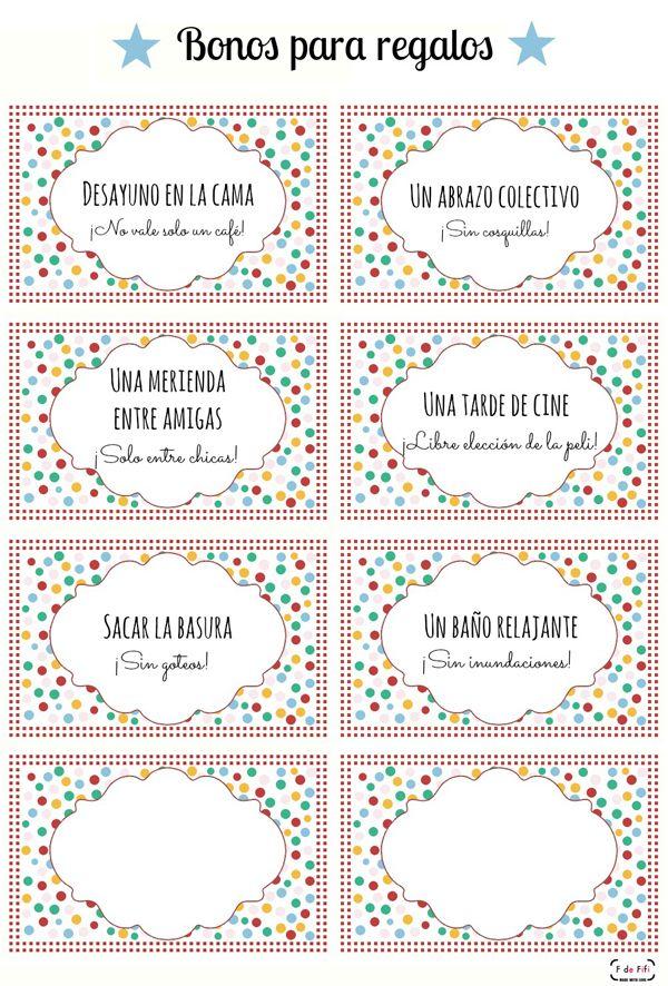 Imprimible bonos para canjear para el día de la madre Printable for mother's day gift