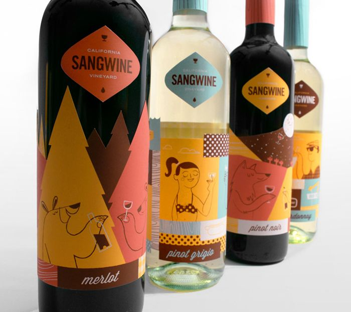 """Sangwine, an invented vineyard, is all about embracing the California lifestyle. Each bottle features something quintessentially Californian from the PCH to the redwood forest."" Illustrator Lydia Nichols"