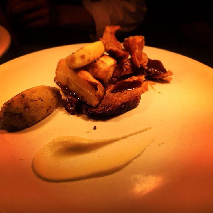 Sunday Roast Leg Of Pork served with glazed apples, mustard Mash, vanilla & Onion Purée.
