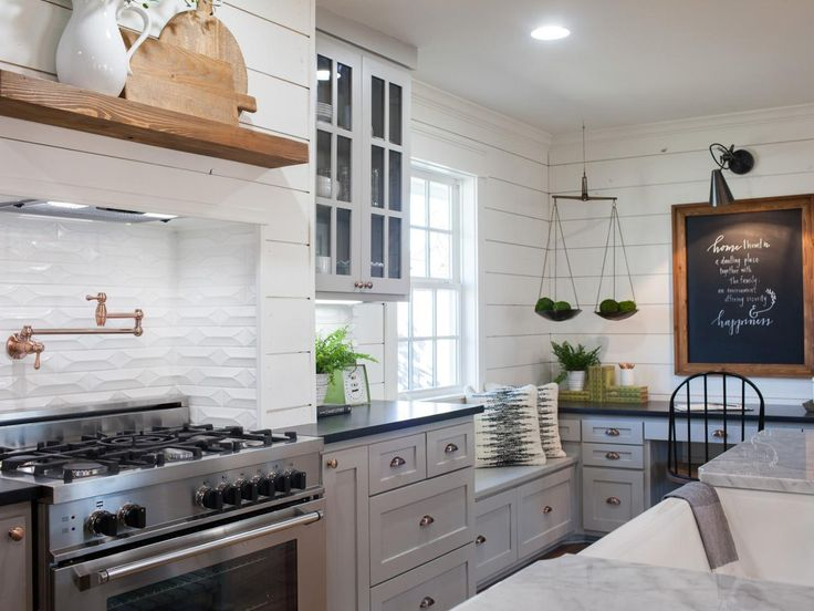 See how team fixer upper revitalized this collapsing for Carriage house kitchen cabinets
