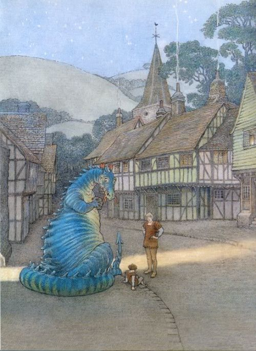 The Reluctant Dragon, by Kenneth Grahame illustrated by Inga Moore. Really cute story about a harmless dragon.