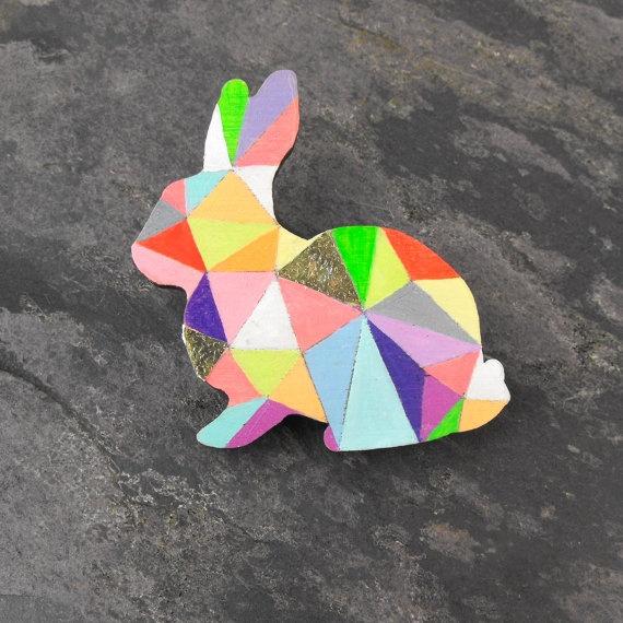 Geometric Rabbit Neon Brooch - Harlequin Bunny