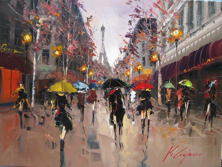 Love the Texture and Light in this PaintingParis, 50 Style, Kalgajoum, Rainy Day, The Artists, Umbrellas Art, Oil Painting, Palettes Knife, Kal Gajoum
