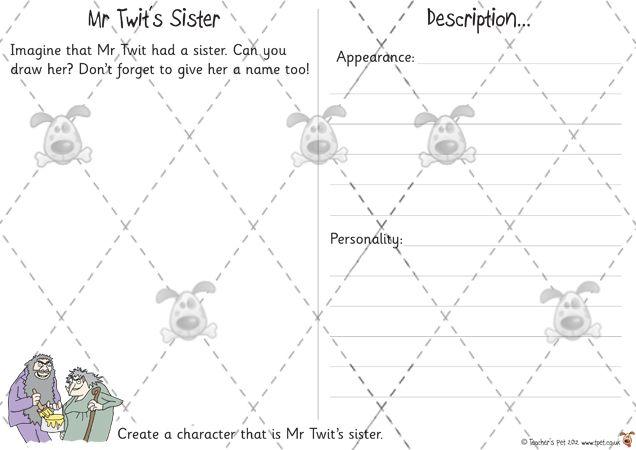 Teacher's Pet - Mr Twit's Sister - Premium Printable Classroom Activities and Games - EYFS, KS1, KS2, twit, characters, descriptions, appearance, personality, Roald, Dahl