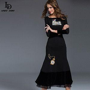 New Fashion Ruwnay Women's Long Sleeve Beading Embroidery Bodycon Sheath Sexy Black Mermaid Dress Party Dresses