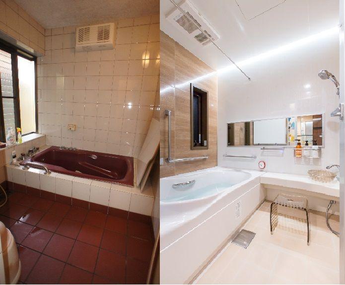 在来工法のお風呂をlixil スパージュ にリフォーム 浴槽の向きを