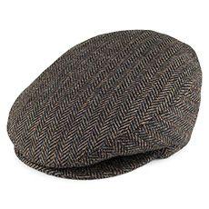 Bailey Hats Lord Stripe Herringbone Flat Cap - Black Mix