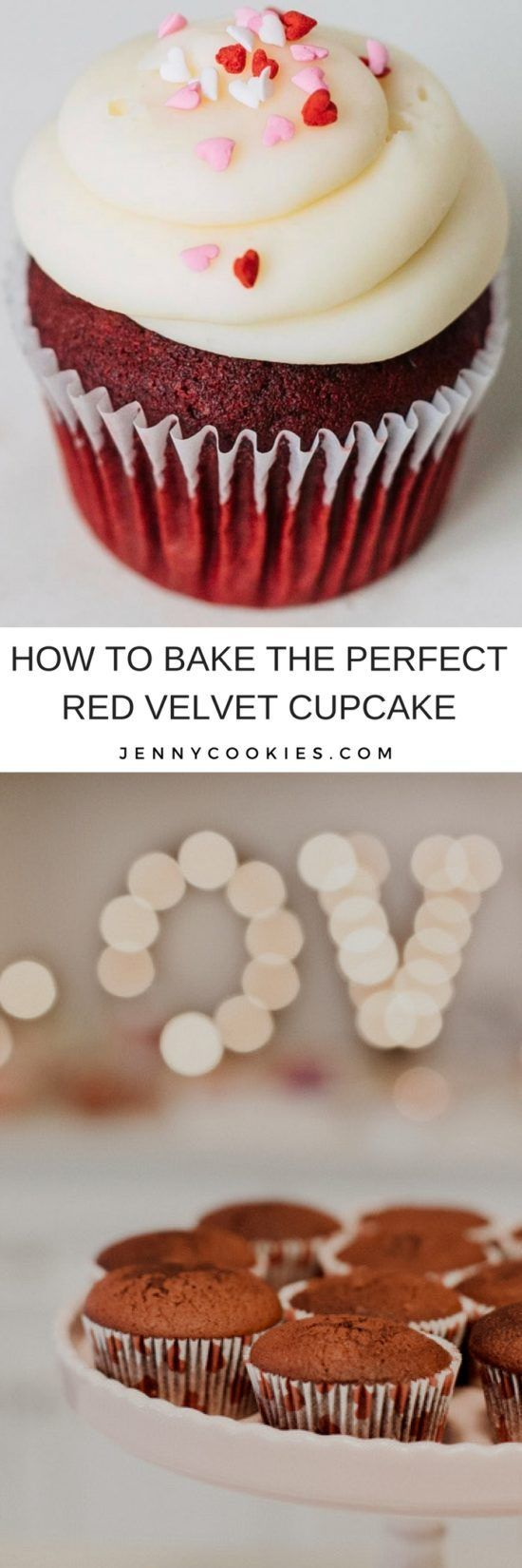 How to Bake the Perfect Red Velvet Cupcake | red velvet cake recipes | the best red velvet cupcakes | easy cupcake recipes | red velvet recipes | homemade red velvet cake || JennyCookies.com #redvelvetcake #redvelvet #easycupcakes