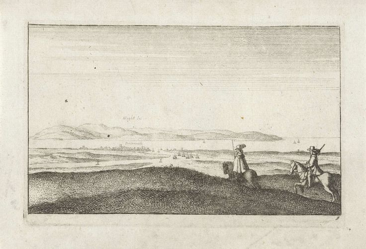 Wenceslaus Hollar   Landschap met gezicht op het eiland Wight, Wenceslaus Hollar, 1643   Prent rechtsonder genummerd: 5.