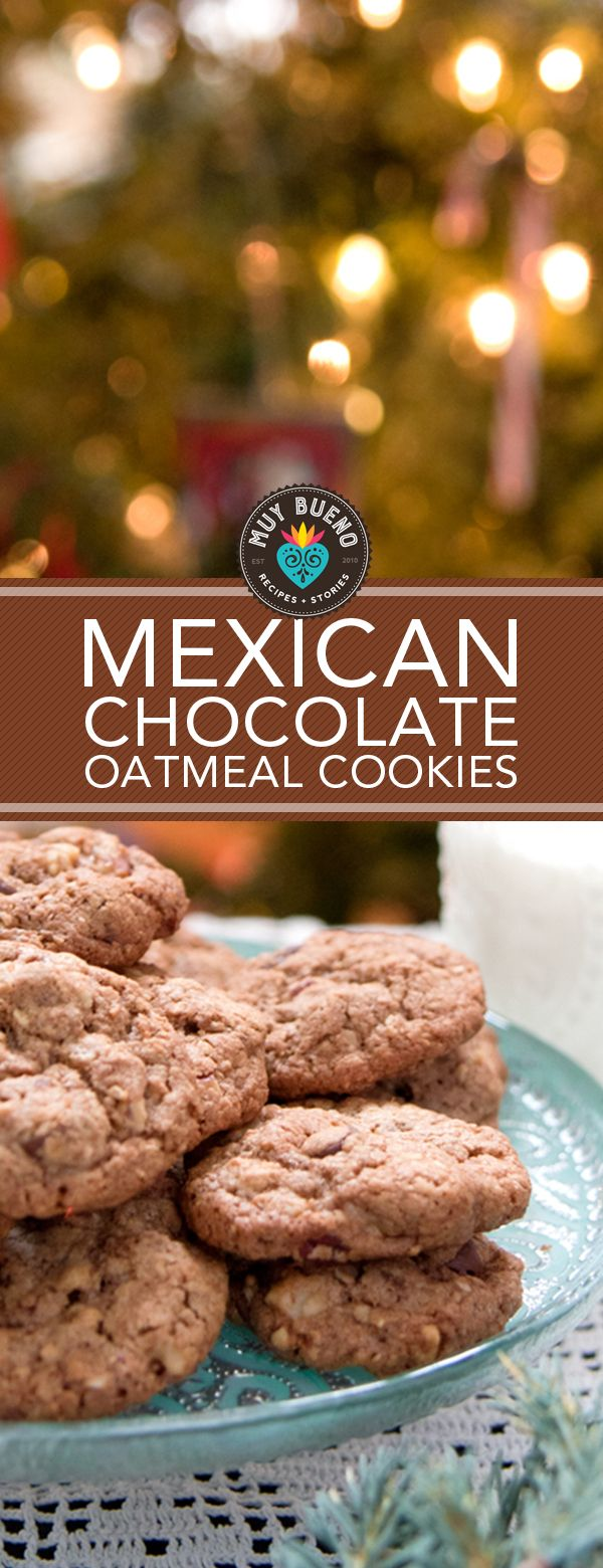 These cookies are made with Mexican chocolate, chocolate chips, ground oatmeal, and a combination of chopped pecans and walnuts. They taste soft and gooey, warm out of the oven and light and crunchy once cooled. It's a delicious variation on chocolate chip cookies and perfect to make for Santa with the little ones.