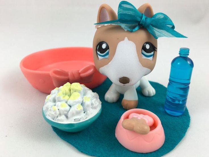 Littlest Pet Shop RARE & HTF Tan/White Bull Terrier #1095 w/Bed & Accessories #Hasbro
