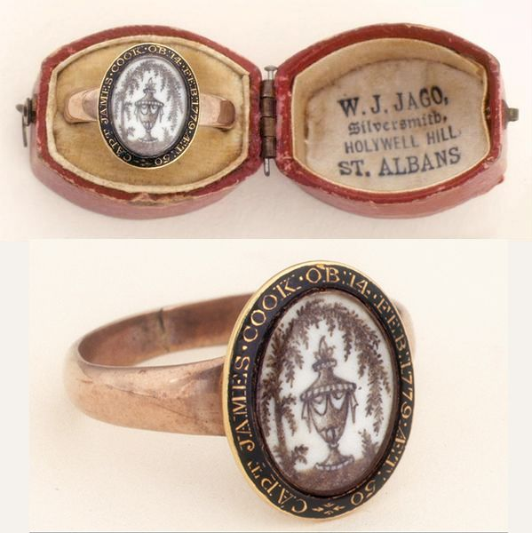 """Captain James Cook (1728-1779) mourning ring, owned by Elizabeth Cook, ca. 1780. """"Capt James Cook O.B. 14 Feb. 1779. AET: 50 [in his 50th year]"""" -- cameo inscription around ring edge """"Captain Cook's memorial ring, the design made from his hair. Worn by his widow"""" -- inscription on accompanying envelope. Despite historical references to the ring being made of Cook's hair, close examination does not indicate hair is the material used. 