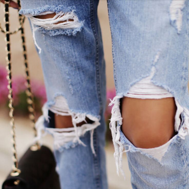 This loose big hole ripped jeans is fashionable and casual. This is made of high quality cotton, polyester, 100% brand new. Have this cropped jeans, it is comfortable to wear. It is design with slits,
