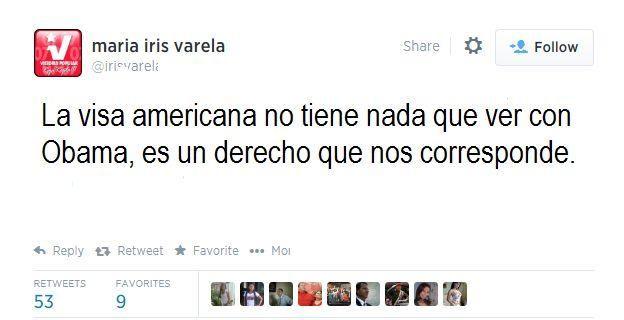 """@alexvzlalibre: Iris Varela """"La visa americana no tiene nada que ver con Obama. Es un derecho que me corresponde...""""  ¿DERECHO, MIV?"""