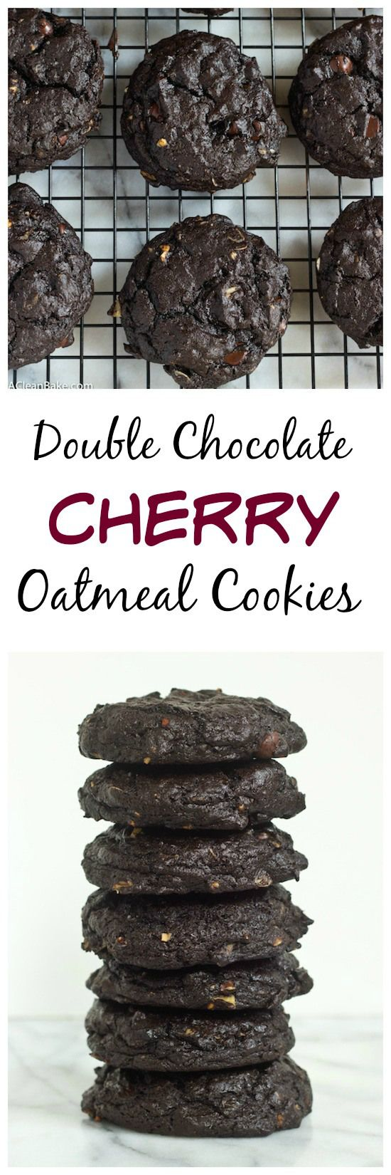 Double Chocolate Cherry Oatmeal Cookies 2/3 cup almond butter (creamy, sweetened) 3 Tablespoons butter, vegan butter or coconut oil ½ cup honey 1 large egg ½ teaspoon vanilla extract pinch of salt ½ teaspoon baking soda ½ cup cocoa powder ½ cup rolled oats ¼ cup chocolate chips ¼ cup dried cherries