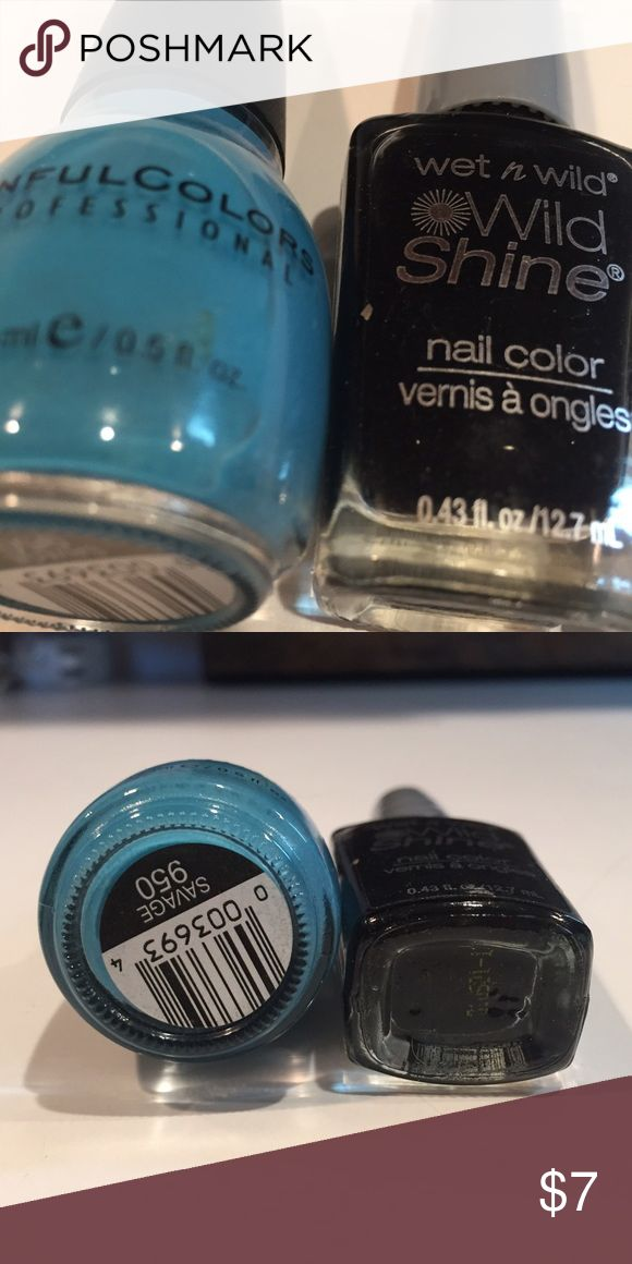Blue and black nail polish duo Wet n wild black, sinful nail polish duo. Blue and black. Great combo Essie Other