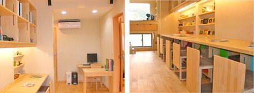 学習塾もリフォームで一新。床はシラカバの無垢材で覆い、保温性を向上。 ガラスはペアガラスに変え防音効果を強化しました。