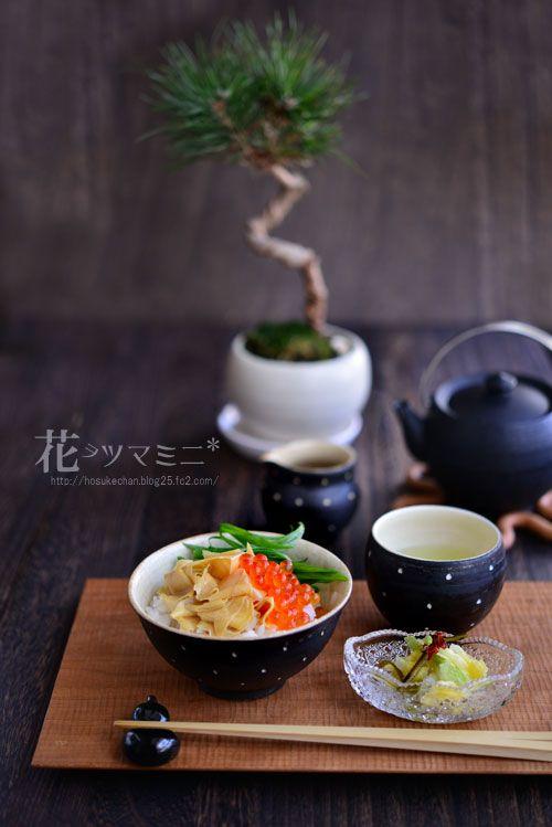 湯葉イクラ丼 九条ネギのせ  白菜漬け YubaIkuradon