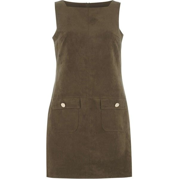 Dorothy Perkins khaki faux suedette pinny dress (£26) ❤ liked on Polyvore featuring dresses, green, pinafore dress, dorothy perkins, brown dress, green dress and dorothy perkins dress