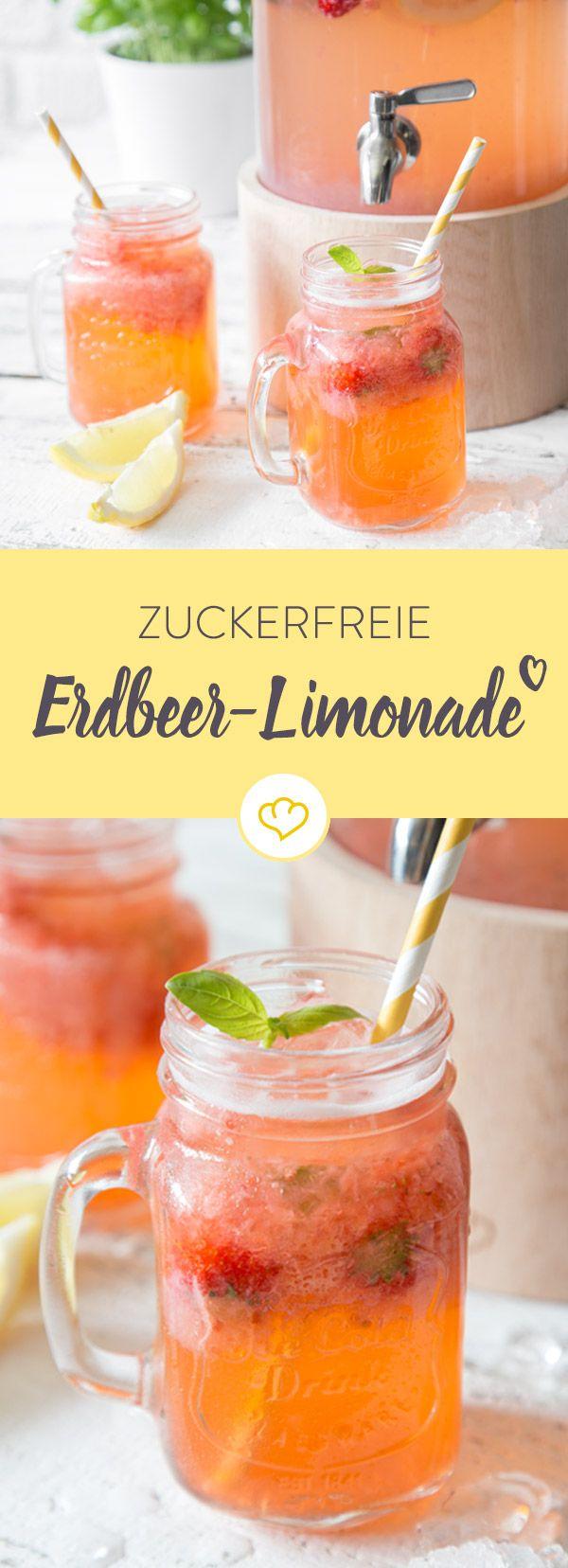 Erfrischende Aromen von Zitrone, Erdbeere und Basilikum machen diese Limonade zu einem echten Sommerhit. Das Beste daran? Sie ist komplett zuckerfrei!