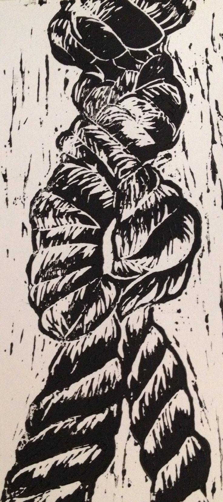 Rope Lino print