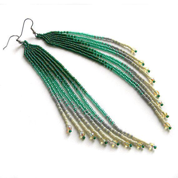 Boucle d'oreille / long vert graines - bijoux en perles - perles Boucles d'oreilles de frange