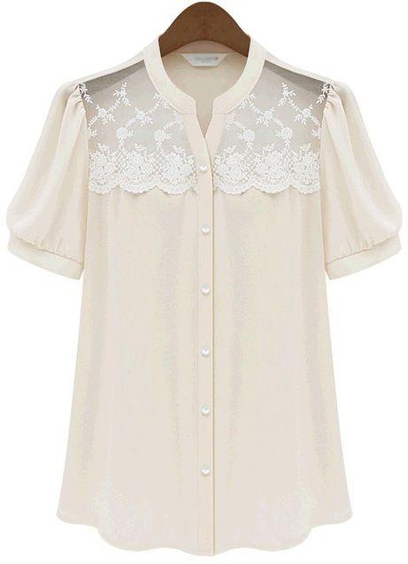 Apricot Short Sleeve Contrast Lace Chiffon Blouse US$20.79