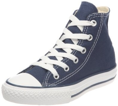 Converse Chuck Taylor Kids All Star Hi Top Navy size 2. The Converse All Star has its roots in basketball and sport.  While there's no question that this shoe still has the features necessary to compete, it's also become almost as well known for it's great style.  No matter why he wants them, every little boy