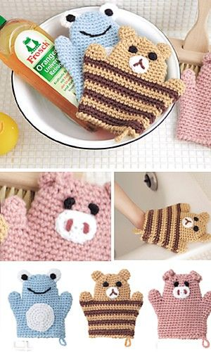 Crochet animal cleaning mitts. These would be so cute as kids bath wash cloths!