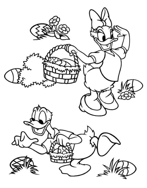 Coloriage daisy et donald ramassent les oeufs de paques - Coloriage minnie et daisy ...