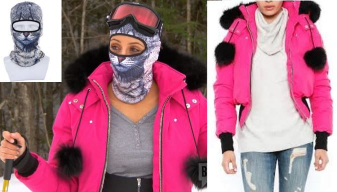 Melissa Gorga's Pink Pom Pom Ski Jacket and Cat Mask http://www.bigblondehair.com/real-housewives/melissa-gorgas-pink-jacket-with-black-fur-pom-poms-cat-ski-mask/