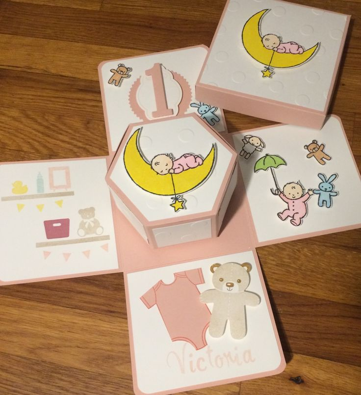 Stampin UP Moon Baby Explodingbox zum ersten Geburtstag Geburtstagseinladung