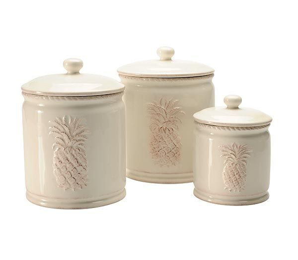 Delightful Pineapple Kitchen Decor | Pineapple Delight Set Of 3 Canisters
