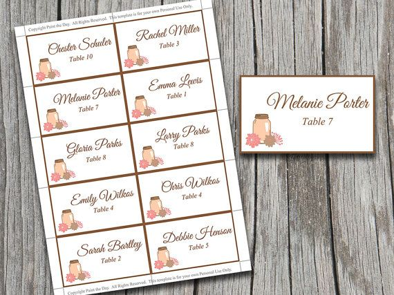 Wedding Place Cards Template | Mason Jar Coral Escort Card Microsoft Word Template | Wedding Table Cards | Rustic Flower Escort Cards | by PaintTheDayDesigns, $8.00