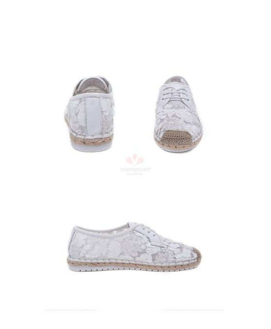 Lace and paillettes espadrilles. Round toe Tulle Rubber sole Wedding shoes